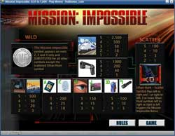 Paytable for PartyCasino's mission Impossible slot game