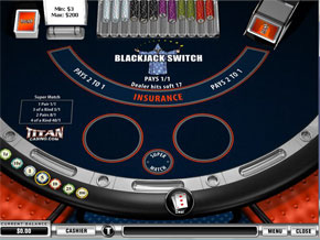 Switch Blackjack a game that allows you to switch cards in a hand at Titan Casino black jack